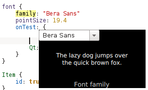 KDevelop 5 font chooser