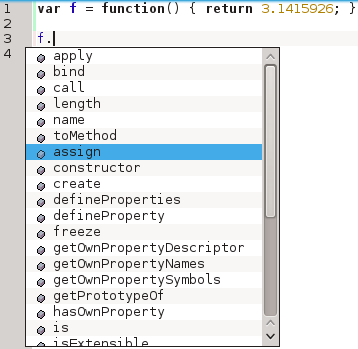 Code-completion for functions