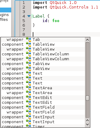 Code completion for namespaces