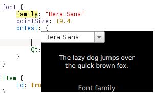 KDevelop 5 font chooser